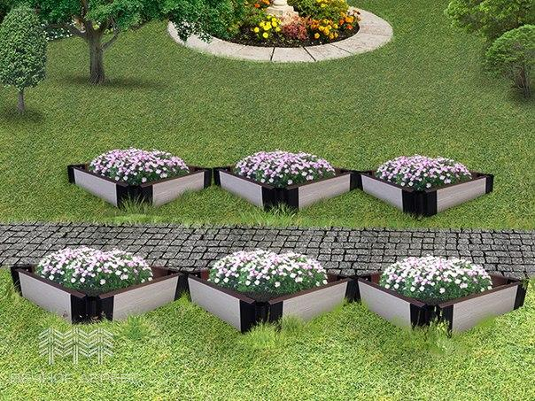 Пример расположения клумб из ДПК вдоль дорожки в саду